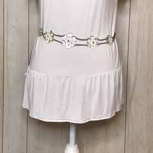 Hippie Boho Chain & Clear Flower Adjustable Belt
